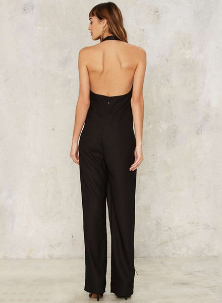 Black Notch Lapel Halter Jumpsuit - girlyrose.com