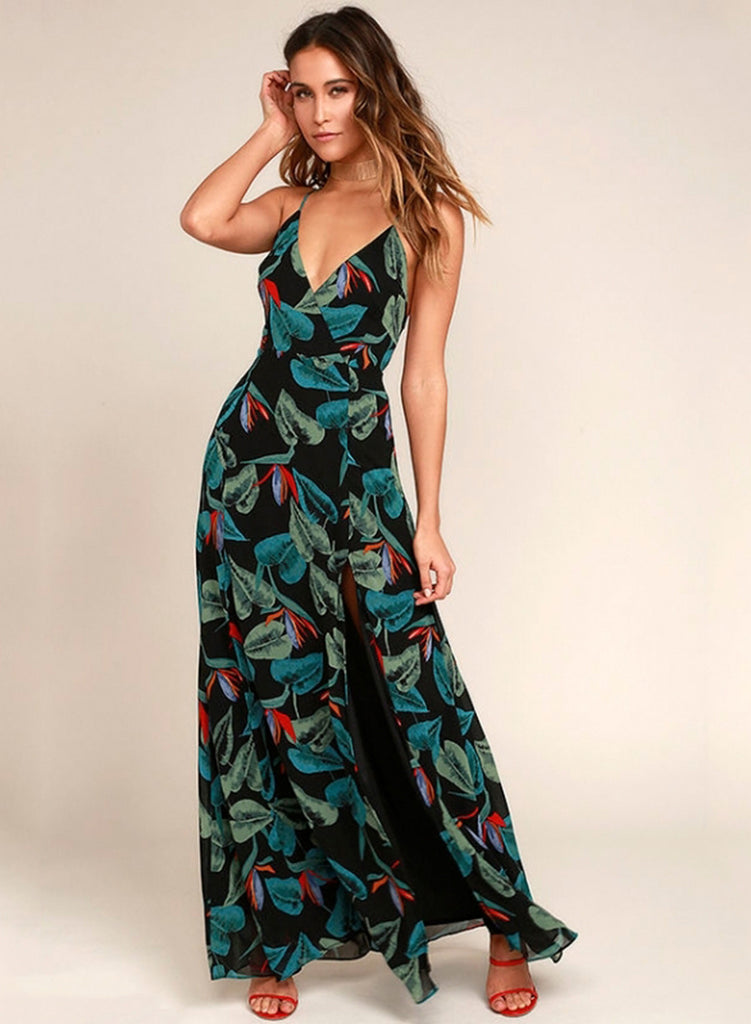 Black Sexy Leaf Printing Maxi Dress