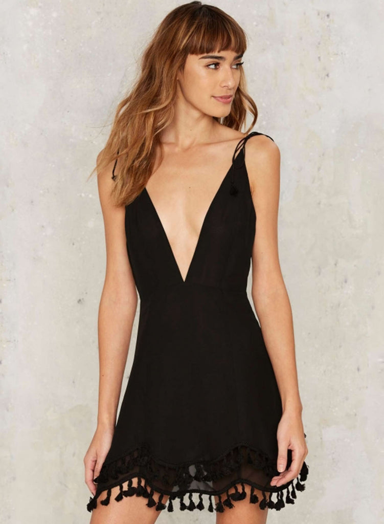 Black Sexy V Neck Tassel Dress