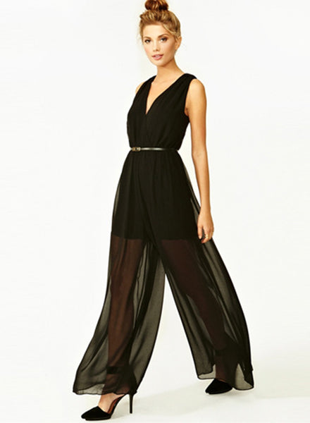 Black V Neck High Waist Jumpsuit