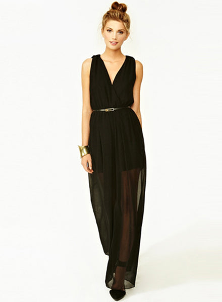 Black V Neck High Waist Jumpsuit - girlyrose.com