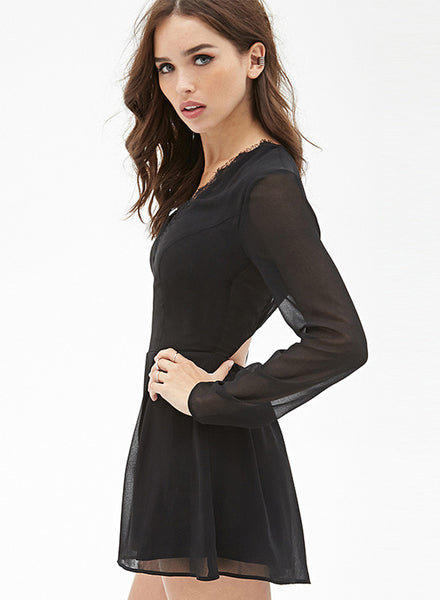 Black V Neck Lace Panel Chiffon Jumpsuit - girlyrose.com
