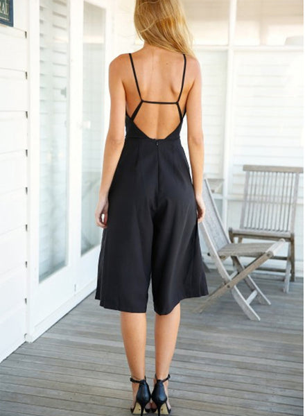Black Wide Leg Jumpsuit - girlyrose.com