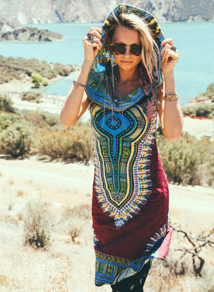 Burgundy Bohemian Ethnic Print Sleeveless Hooded Dress
