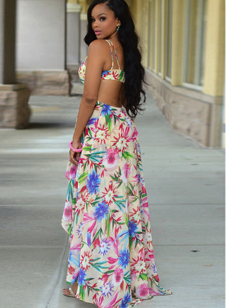 Bohemian Floral Printed Cut out High Low Dress