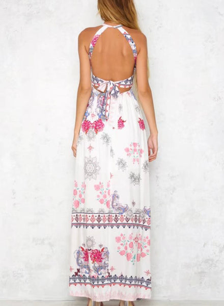 Bohemian Floral Printed Halter Backless Slit Maxi Dress