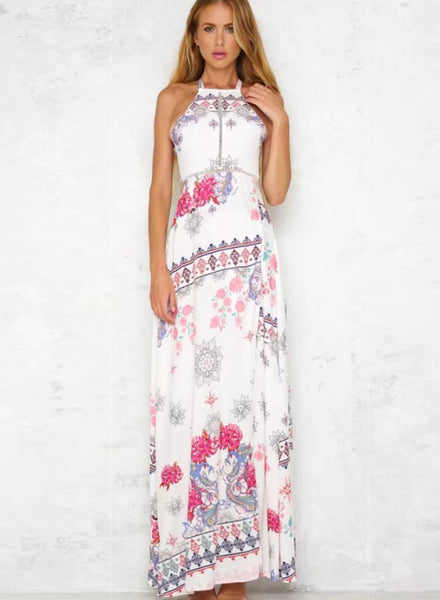 Bohemian Floral Printed Halter Backless Slit Maxi Dress - girlyrose.com