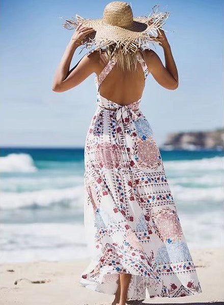 Bohemian Halter Backless Floral Printed Maxi Dress - girlyrose.com