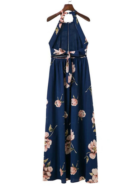 Bohemian Halter Backless Floral Printed Split Maxi Dress - girlyrose.com