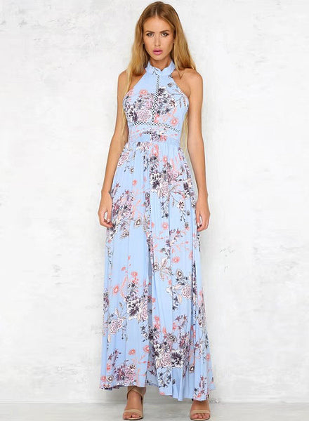 Bohemian Halter Floral Printed Split Maxi Dress - girlyrose.com