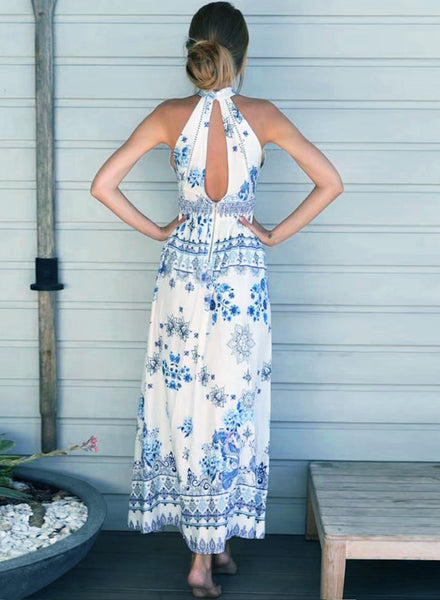 Bohemian Halter Sleeveless Floral Printed Maxi Dress - girlyrose.com