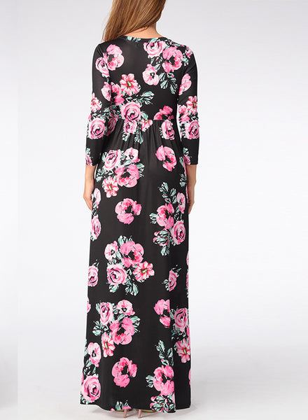Bohemian Long Sleeve Floral Printed Maxi Prom Dress - girlyrose.com