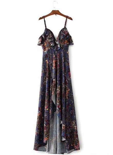 Bohemian V Neck Ruffle High Slit Irregular Maxi Dress - girlyrose.com