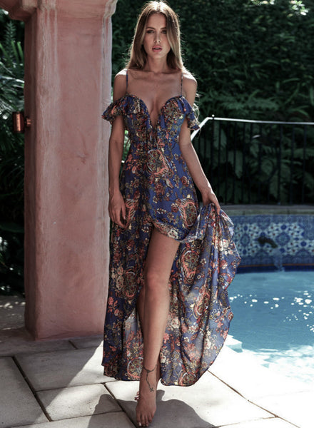 Bohemian V Neck Ruffle High Slit Irregular Maxi Dress