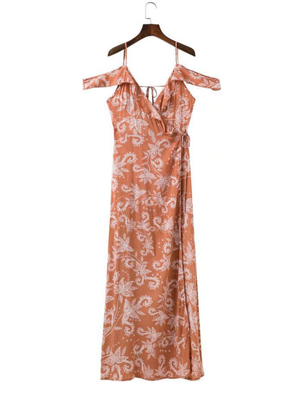 Boho Floral Print off Shoulder High Slit Maxi Dress - girlyrose.com