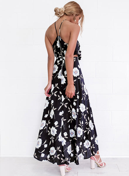 Boho Halter Floral Printed High Slit Maxi Dress