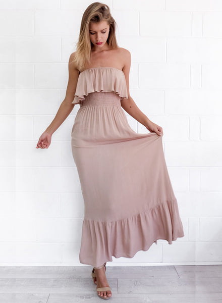 Boho Off Shoulder Ruffled Maxi Dress - girlyrose.com