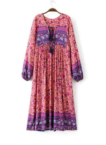 Boho Tie Neck Long Sleeve Pleated Dress - girlyrose.com