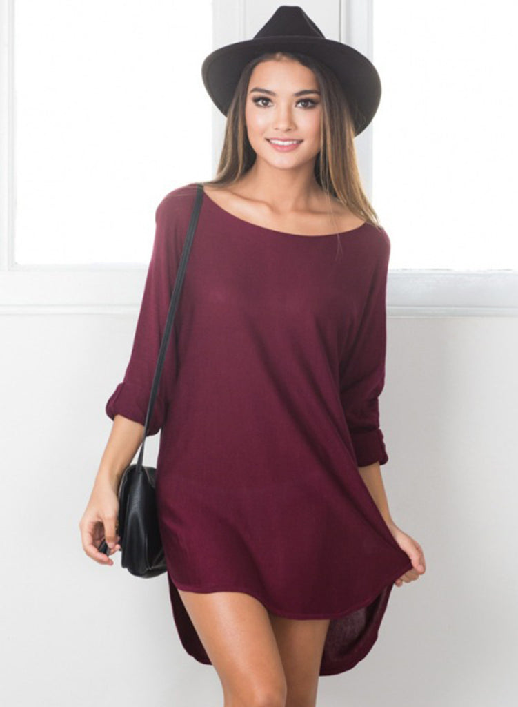 Burgundy Casual Long Sleeve High Low Solid Dress