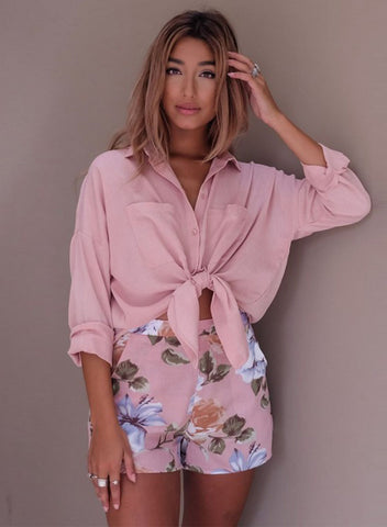 Casual Long Sleeve Solid Color Button down Shirt - girlyrose.com
