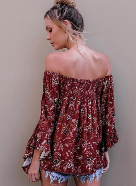 Casual off Shoulder Flare Sleeve Floral Printed Loose Blouse