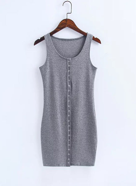 Casual Solid Mini Bodycon Tank Dress