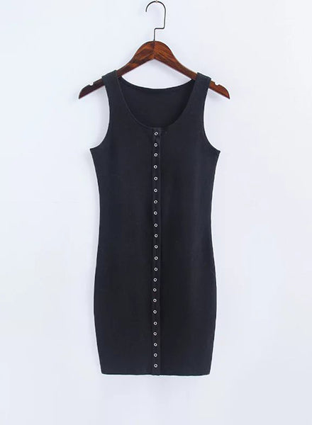 Black Casual Solid Mini Bodycon Tank Dress