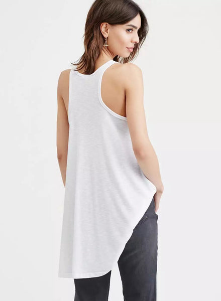 White Casual Solid Pleated Pullover Tank Dress