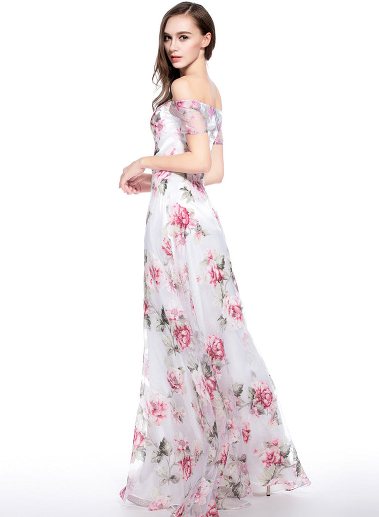 aa50fcefee oasap Chic Floral Graphic Off Shoulder Organza Maxi Dress ...