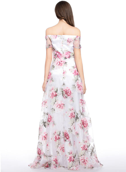 Chic Floral Graphic Off Shoulder Organza Maxi Dress
