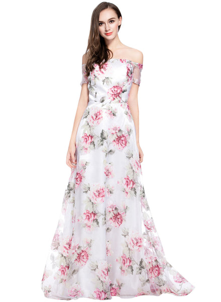 Chic Floral Graphic Off Shoulder Organza Maxi Dress - girlyrose.com