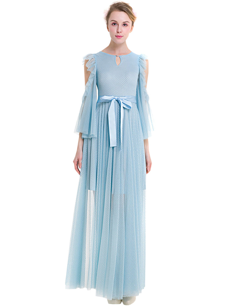 Cold Shoulder Keyhole Maxi Illusion Dress