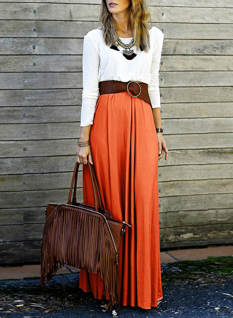 Orange Contrast Color Long Sleeve Backless Maxi Dress - girlyrose.com