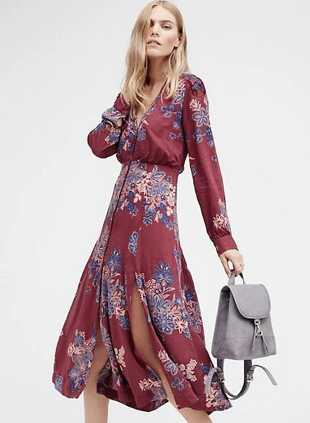 Deep V Boho Floral Print Maxi Dress - girlyrose.com