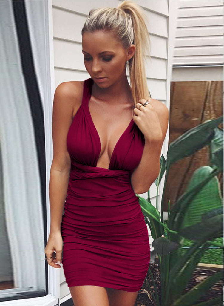 Deep V Neck Bandage Ruched Bodycon Club Dress - girlyrose.com