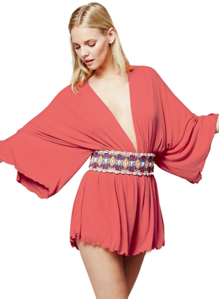 Deep V Neck Batwing Sleeve Loose Solid Romper - girlyrose.com
