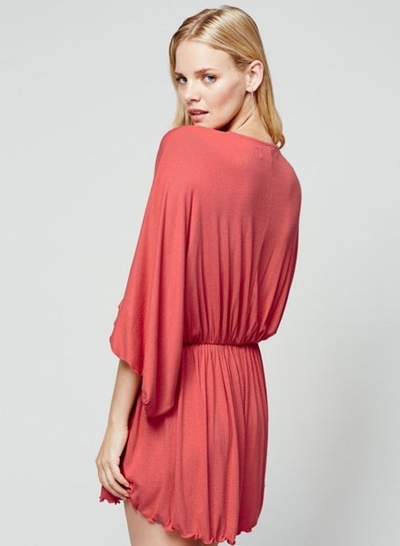 Deep V Neck Batwing Sleeve Loose Solid Romper