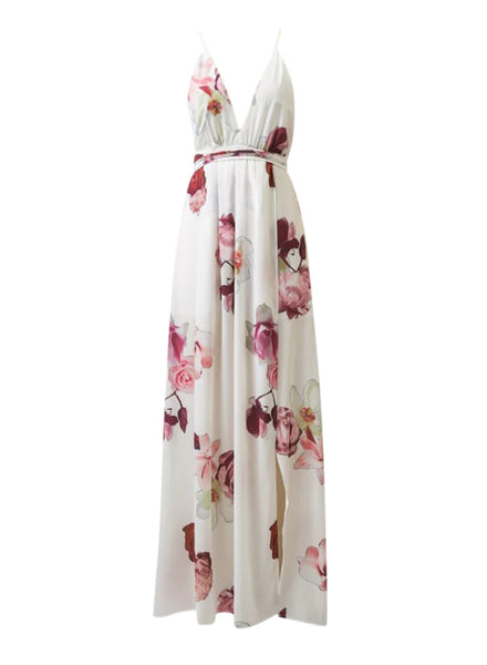 White Deep V Neck Floral Printed High Slit Maxi Dress - girlyrose.com