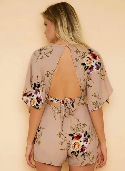 Deep V Neck Half Sleeve Backless Floral Printed Romper - girlyrose.com
