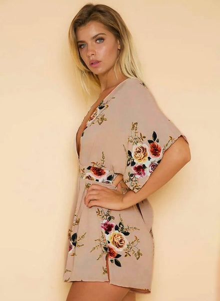 Deep V Neck Half Sleeve Backless Floral Printed Romper