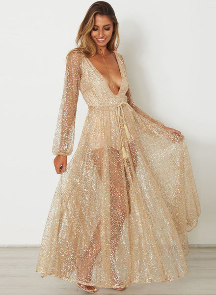 Deep V Neck Long Sleeve Backless Sequins Maxi Dress - girlyrose.com