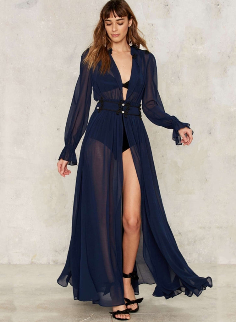 Deep V Neck Long Sleeve High Slit Maxi Dress