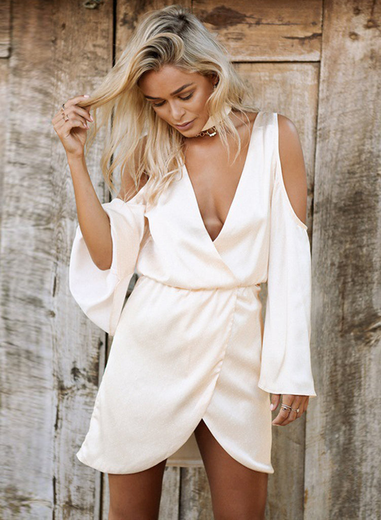 White Deep V Neck off Shoulder Long Sleeve Irregular Mini Dress - girlyrose.com