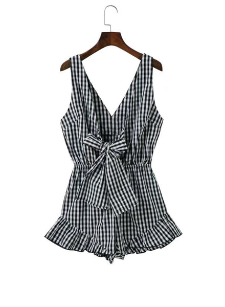 Deep V Neck Seeveless front Bow Plaid Romper - girlyrose.com
