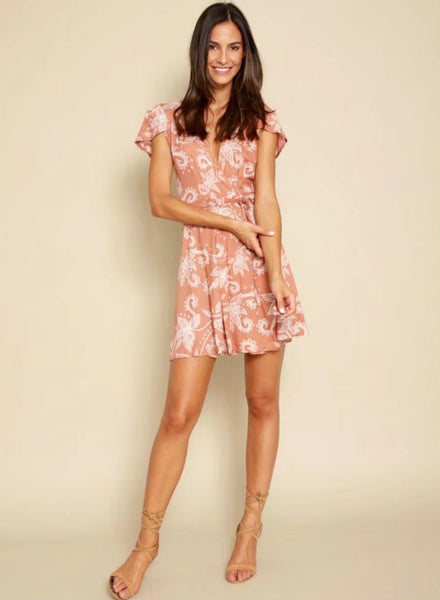 Deep V Neck Short Sleeve Floral Printed Casual Romper - girlyrose.com