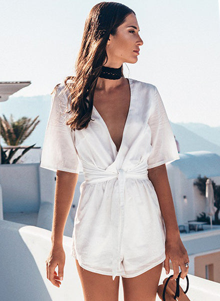 Deep V Neck Short Sleeve Tie Waist Romper - girlyrose.com