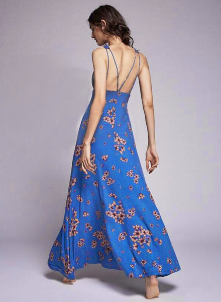 Deep V Neck Sleeveless Backless Floral Printed Prom Dress