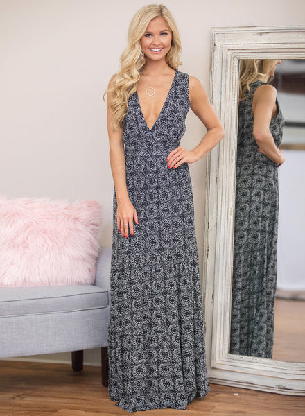 Deep V Neck Sleeveless Maxi PrintedDress