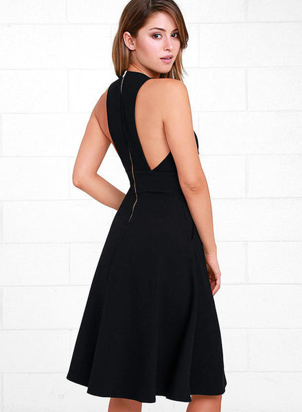 Black Deep V Neck Sleeveless Swing Party Dress - girlyrose.com