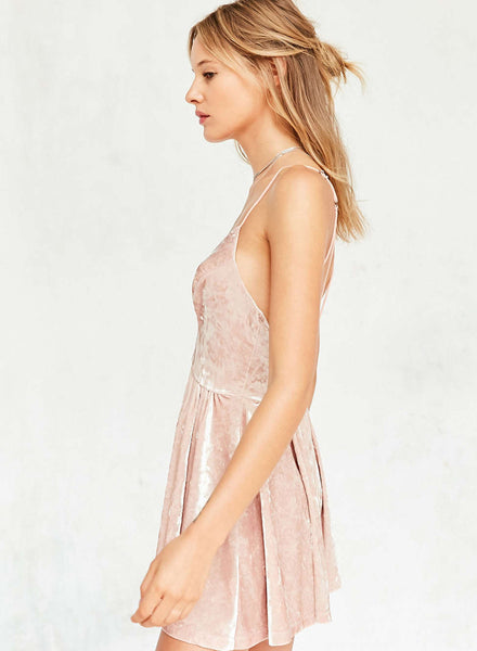 Pink Deep V-Neck Velvet Spaghetti Strap Mini Dress - girlyrose.com
